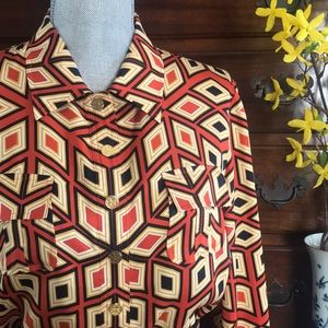 ||Tory Burch || Geo Print Silk Dress